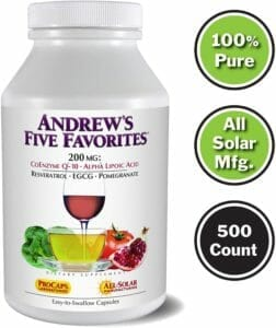 Andrews 5 favourites CoQ10 Coenzyme q10 supplement